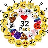 Jansroad 32 Pezzi Emoji Portachiavi Faccine Portachiavi Emoticon , Portachiavi Decorazioni Mini Pop di Peluche Portachiavi , Perfetto Regalo Per il giorno dei bambini, Natale, compleanni