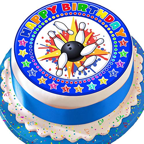 In Bowling Happy Birthday blau 19,1 cm vorgeschnittenen Essbarer Zuckerguss Kuchen Topper Dekoration