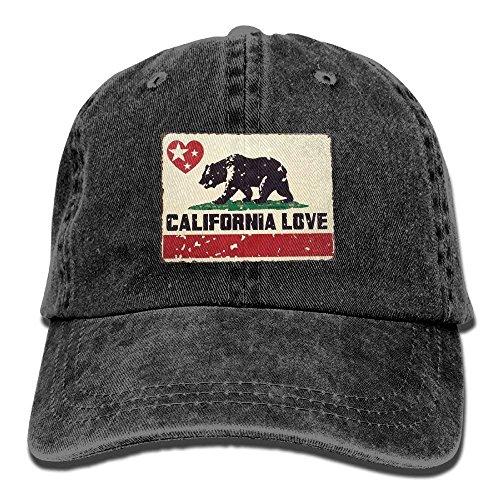 Zhgrong Bear California Love Star Cute Unisex Adjustable Baseball Cap Dad Hat Mens caps