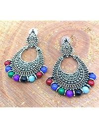Satyam Kraft Antique Oxidized Ethnic Fusion Multicolour Beaded Chandbali Earrings For Girls Stylish Earrings For...