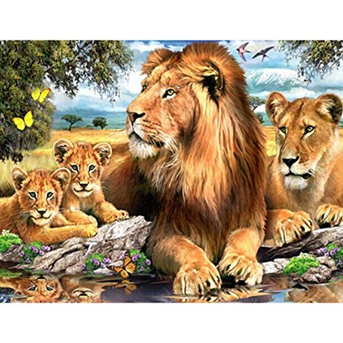 5D Diamond Painting Embroidery DIY Handmade Diamond Rhinestone Mosaic Kits Animals Cross-Stitching Set Lion Family