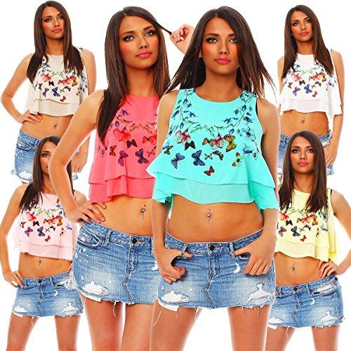 Fashion4Young bauchfreies 4097/femme en débardeur chifon à double couche pour femme-style punk Jaune - Jaune