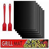 BBQ grill mat Antiadhésif,Tapis de Cuisson Barbecue,6 PcsTapis Barbecue Set-40x33cm,feuille de cuisson reutilisable,feuille t