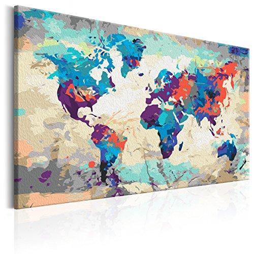 murando - Malen nach Zahlen 2.0 – Bilder Weltkarte 60x40 cm – Malset mit Holzspannrahmen - DIY - Wandbilder - Für Erwachsene und ambitionierte Kinder ab 12 - Perfekt für Hobbymaler n-A-0231-d-a