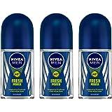 Nivea MEN Deodorant Roll On, Fresh Power, 50ml (Pack of 3)
