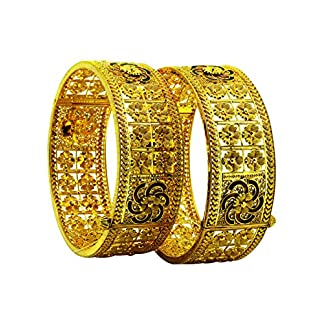 Sree Kumaran Thangamaligai Designer Collection 22k (916) Yellow Gold Bangle Set