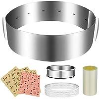 Digyssal Cercle a Patisserie Reglable Set Cercle à Gâteaux Réglable avec Echelle 16-30cm Extensible en Acier Inoxydable…