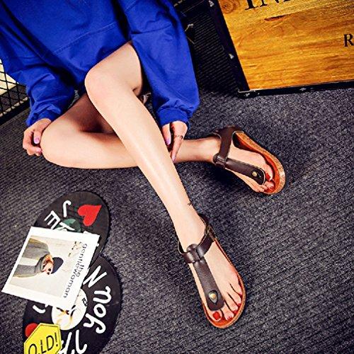 Unisex-Erwachsene Sandalen mit Korkfußbett Zehengreifer Flip-Flops Schuhe Flache Sandalette Komfort Zehentrenner Braun