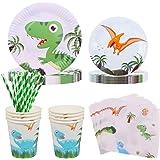 Amycute 60pcs Juego de Cubiertos Dinosaurio, Set de Vajillas para 10 Niños con Vaso, Plato, Servilleta Fiesta de Cumpleaños B