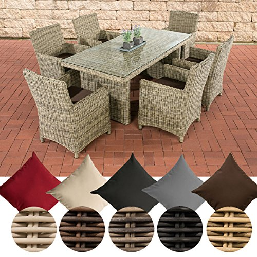 CLP Poly-Rattan Sitzgruppe FONTANA (6 Stühle + Tisch 180 x 90 cm), 5 mm RUND-Geflecht Bezug: Terrabraun, Rattan Farbe natura