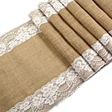 "Marry Acting 12"" x 108"" Natural Jute Hessian Burlap Lace Table Runner for Rustic Wedding Bridal Shower Festival Party Event"