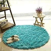 Alfombras, CAMAL Material de Lana de Seda Artificial Redonda Alfombras de Yoga para Sala de Estar Dormitorio y Baño (100cm, Azul)