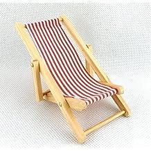 Mobili Giardino In Miniatura Casa Delle Bambole Spiaggia Mobili Rossi A Righe Colorate Pieghevole Sedia A Sdraio