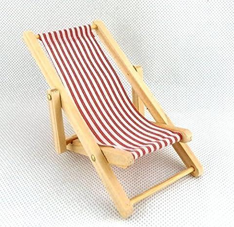 Dolls House Miniature Garden Beach Furniture Red Candy Stripe Folding Deck Chair