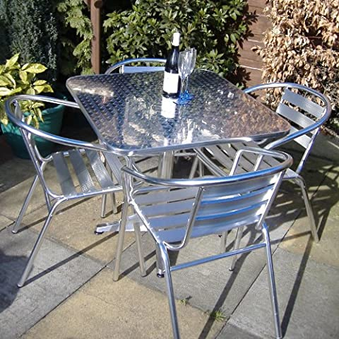 Alfresia Nice Café Dining Set - Outdoor Garden Furniture Set with Square Table and Four Chairs