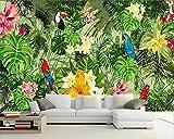 Lqwx Custom 3D Wallpaper Perroquet Peint À La Main De Plantes Tropicales Forêt Tropicale Décoration Murale Fond Papier Peint 3D-300Cmx210Cm