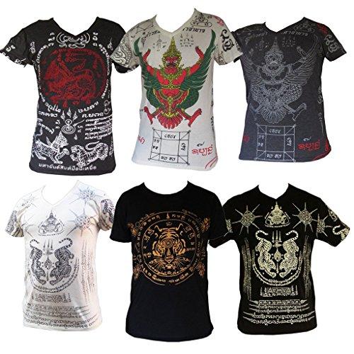 Tiger Yantra T-shirt, alte Kambodscha Schutzsymbole, Khmer Tattoo Kunst, Weiß