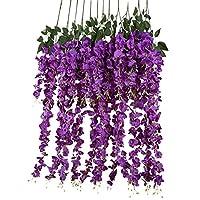 12pcs Artificial Silk Wisteria Vine Ratta Silk Hanging Flower Wedding Decor,Purple