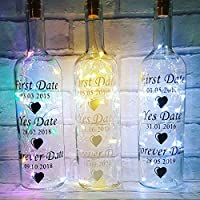 Personalised Light Up Wine Bottle, First Date, Yes Date, Forever Date. Wedding Gift Message on a bottle, fairy lights bottle, wine bottle wall quote