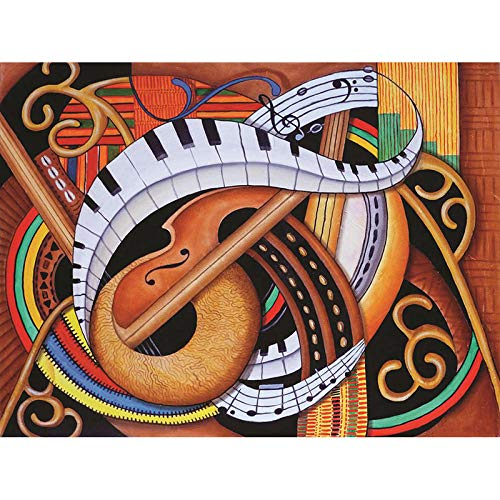 LEELIYA 5D DIY Diamant Stickerei Sound of Soul Strings Diamant Malerei Kreuzstich Strass Mosaik Wohnkultur,40X50cm