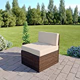Abreo Rattan Modular Corner Sofa Set Garden Conservatory Furniture 5 To 9 Pcs (Extra Middle Sofa, Brown)
