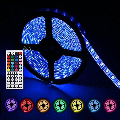 LED Lichtleiste IP65 wasserdicht SMD 5 Meter 300 LEDs, 12V DC Flexible Lichtstreifen, Farbwechsel RGB LED Strip Kit mit Netzstecker 44 Tasten Fernbedienung für Weihnachtsfeier Dekoration, von AGPTEK