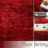 floor factory Exklusiver Hochflor Shaggy Teppich Satin rot 80x150 cm - edler, seidig glänzender Teppich