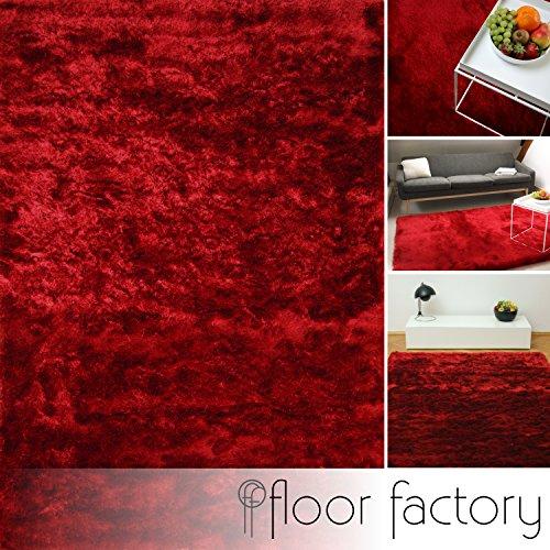 Floor factory tappeto esclusivo moderno satin rosso 80x150 cm - tappeto shaggy pelo lungo