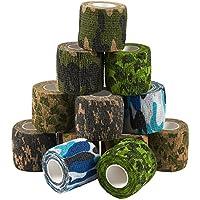 Paquete de 12 cintas autoadhesivas para veterinario de camuflaje para primeros auxilios, deportes, muñeca, tobillo en 6 colores surtidos de camuflaje, 5 m x 5 m