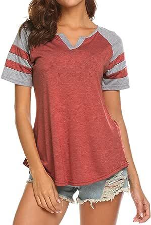 Miselon Women's Summer V Neck Raglan Short Sleeve Shirts Casual Blouses Baseball Tshirts Top