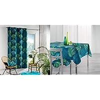 Douceur d'Intérieur Rideau A Oeillets 140 x 260 CM Polyester Imprime Blue Vegetal Bleu & Nappe Rectangle 150 x 240 CM…