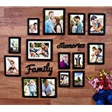 Painting Mantra Beautiful Family Memories Set of 14 Individual Wall Photo Frame (6-6x8, 6-4x6, 2-8x10) with MDF Plaque (Family and Memories) (Black)