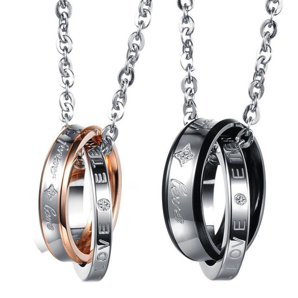 Cupimatch Valentinstagsgeschenk 2PCS Herren Damen Edelstahl verflochtene Doppel-Ringe Anhänger Paar Halskette mit Gravur Strass Forever Love, mit 45 cm, 50cm Kette