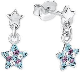 Prinzessin Lillifee Kinder-Ohrhänger Mädchen Stern 925 Silber Kristall