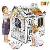 deAO Doodle Spielhaus DIY Zeichnen Kunst Bastelset für Kinder Papp-Spielhaus zum Bemalen und Dekorieren (Ferienhaus)