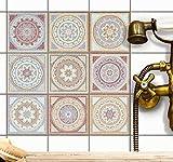 Fliesenaufkleber für Küchenspiegel und Badfliesen | Fliesenfolie - Vinyl Mosaik-Fliesen | selbsklebend, abwaschbar und rückstandslos ablösbar | 15x15 cm - Motiv Mosaik Afrika - 9 Stück