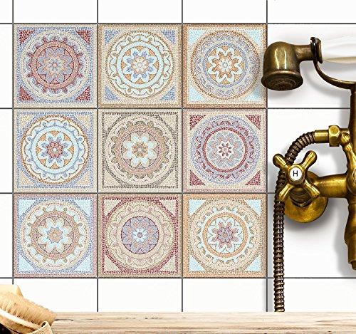 Fliesen-Mosaik Aufkleber - Fliesenaufkleber | Klebefolie zum Fliesen überkleben - Sticker-Fliesen | Renovieren u. Dekorieren von Küchen und Bad-Fliesen | 20x20 cm - Motiv Mosaik Afrika - 9 Stück (9 Stück Bad)