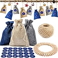 BETOY 24 Advent Calendar to Fill - Fabric Bag,Linen Burlap Bag 1-24 Advent Numbers Stickers, Bags,Fillable Advent Calendar, Christmas Calendar Craft Kit, Crafts Filling for Children DIY Craft