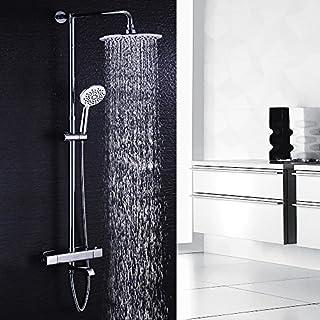 Hausbath Regal Duschsystem Sets mit Thermostat Duschset mit Rainshower Duscharmatur Handbrause Duschkopf Regendusche Dusche Armatur Badewanne Badezimmer