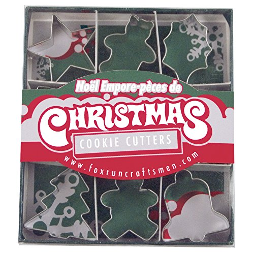Fox Run Christmas Mini Tinplated Metal Cookie Cutters In Gift Box Holiday Baking