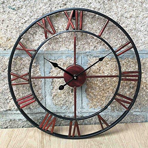 Groß 47Cm Classic Vintage Gusseisen Schmiedeeisen Garten-Wand montiert Uhr im