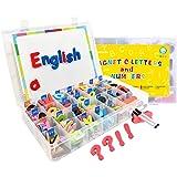 Wenosda 220pcs Letras y Nnúmeros Magnéticos para niños, Kit de Juguetes de imanes Letras del Alfabeto imán Juguetes +símbolos