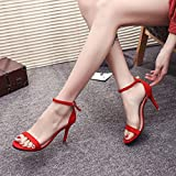 VJGOAL Damen Sandalen, Damen Mode Solide Ankle Block Party Offene Spitze High Heel Sommer Party Schuhe (38 EU, Rot) für VJGOAL Damen Sandalen, Damen Mode Solide Ankle Block Party Offene Spitze High Heel Sommer Party Schuhe (38 EU, Rot)