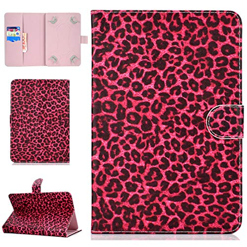 YKTO Dünn Hülle 10 Zoll Universal Tab PU Leder Tasche Standfunktion Etui für Alle 9.5-10.5 Zoll Tablet iPad Air 2/1, Samsung Galaxy Tab A/3/4/S3/E, Lenovo, Huawei MediaPad T3 10 Roter Leopard - Case Galaxy Waterproof S3 Samsung