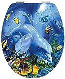 Diaqua Slow Motion Brillant The Dolphin Toilet Seat 100% FSC MDF 42–47x 37.8cm, Multi-Coloured 31171702