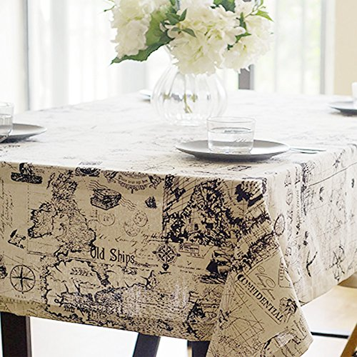 Toechmo Rectangular Cotton Linen World Map Washable Tablecloth Vintage Square Dinner Picnic Table Cloth Home Decoration Assorted Size 36 x 36-Inch