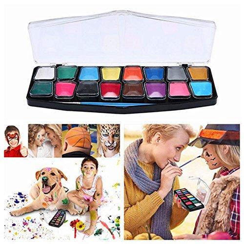 niceEshop(TM) Face & Body Paint Kit, 16 Farben Professionelle Palette mit 2 Pinseln in Kunststoff-Box, Ungiftig FDA Zugelassen, Beste Gesicht Malerei Party Kits für Kinder, Erwachsene, Halloween (Palette Malen Kit Party Gesicht)