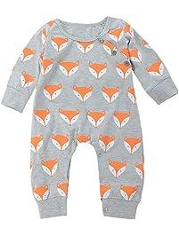 Mono bebé ❤ Amlaiworld Lindo recién nacido bebé niño niña Fox impresión cálida Romper Ropa