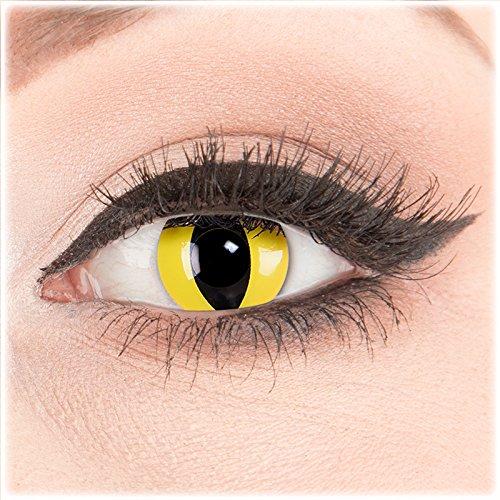 (Farbige Kontaktlinsen zu Fasching Karneval Halloween 1 Paar weiße Crazy Fun 'CatEye' kontaktlinsen mit Behälter - Topqualität von 'Glamlens' mit Stärke -3,50)