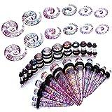 Piercing-Dehner, Set mit 18 Paaren, Spiralen und Zylinder, 3 - 10 mm (8G - 00G)